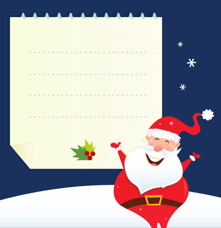santa suit: Christmas Santa with blank note. Vector Illustration.