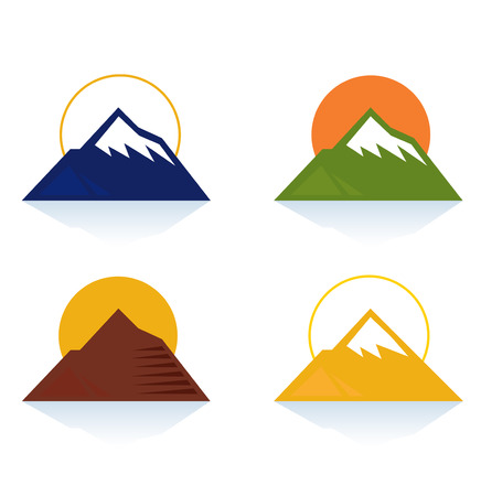 Mountain and tourist icons isolated on white.  Stock Vector - 8379724