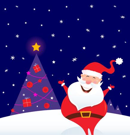 nuit hiver: Nuit d'hiver: Happy Santa avec l'arbre de No�l. La neige, le P�re No�l en rouge et costume de sapin de No�l avec des cadeaux. Illustration de dessin anim�.