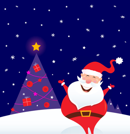 clause: Winter night: Happy Santa with Christmas tree. Falling snow, Santa in red costume and Christmas tree with presents.  cartoon Illustration.