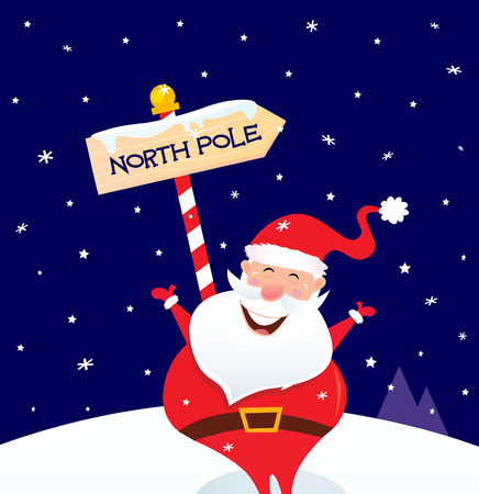 Happy Christmas Santa with North pole sign. A sign of North pole with happy Christmas Santa while snowing  cartoon illustration. Vector