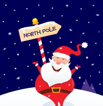 south pole: Happy Christmas Santa with North pole sign. A sign of North pole with happy Christmas Santa while snowing  cartoon illustration.