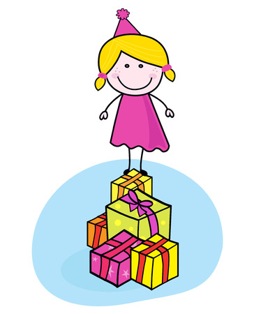 Cute smiling kid with presents isolated on white - doodle.   Stock Vector - 8379727