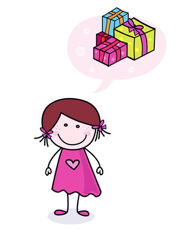 Children dream: Happy doodle girl dreaming about presents Vector