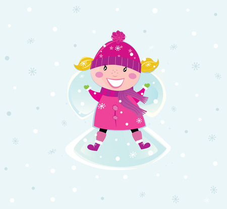 Christmas girl in pink costume making an snow angel. VECTOR Stock Vector - 8427772