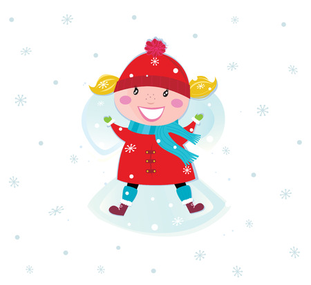 january 1: Happy christmas girl in red costume making angel in snow. VECTOR
