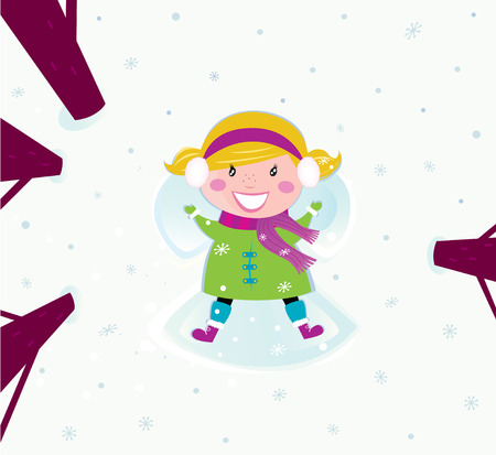 Happy christmas girl in winter nature making angel. Vector cartoon illustration. Vector