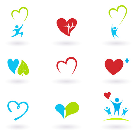 Health and Medical: Cardiology, heart and people icons collection Vector
