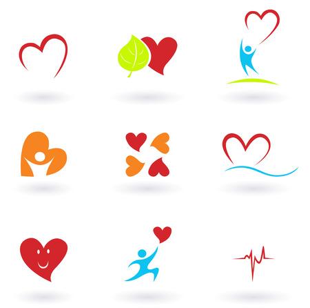 Cardiologie, hart en mensen iconen collectie. VECTOR