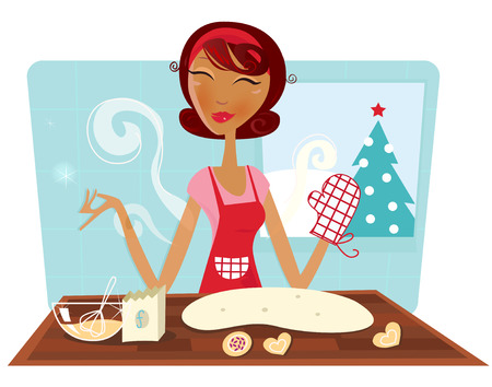 Christmas woman baking cookies in retro kitchen. Woman  mom in red apron baking secret recipe. Vector illustration in retro style. Vector