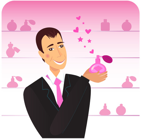 perfum: Happy man holding love perfume. Pink flacons in shop background. Vector Illustration.