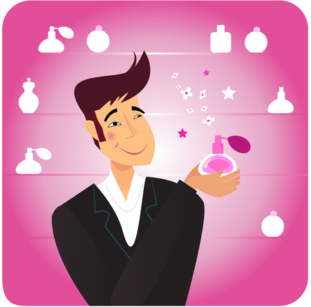 Happy man in shopping store with pink perfume. Vector Illustration. Vector
