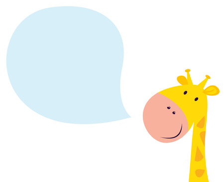 Smiling yellow giraffe head with speech bubble Vector