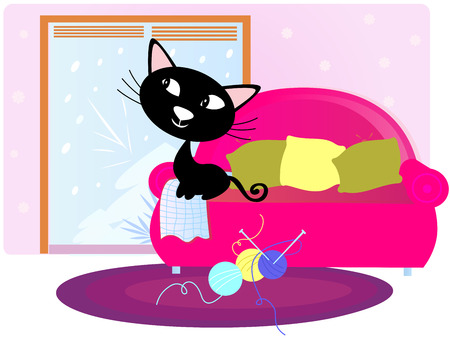 Christmas: Black Cat sitting on sofa and looking through window Illustration