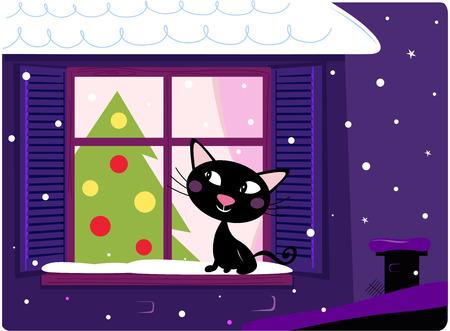 hey: Cat looking through window, christmas tree and xmas snowy night. VECTOR