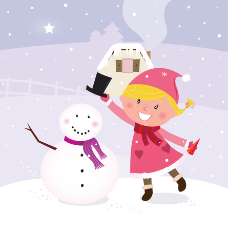 making: Happy smiling girl in pink costume making snowman in winter nature. Vector cartoon illustration.