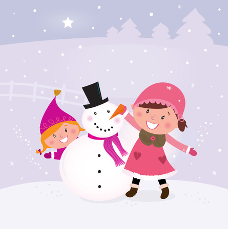 making: Happy smiling kids in winter costumes making snowman. Vector Illustration.