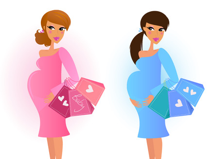 Pregnant women awaiting baby boy and baby girl. VECTOR Stock Vector - 8512613