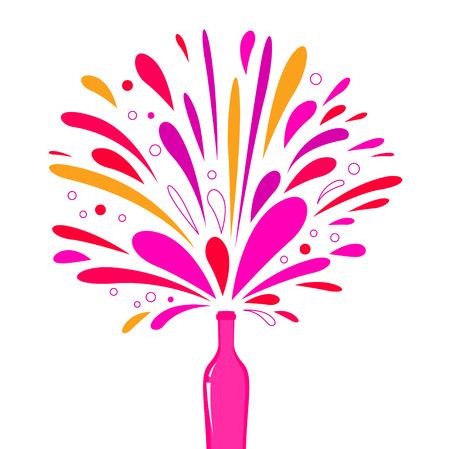 Feiern! Champagne Bottle Splash Explosion isolated on white Illustration