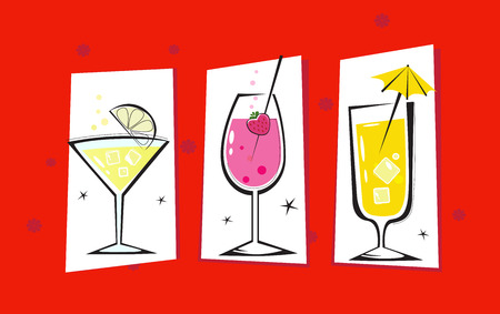 Three retro drinks isolated on red background. VECTOR Vector