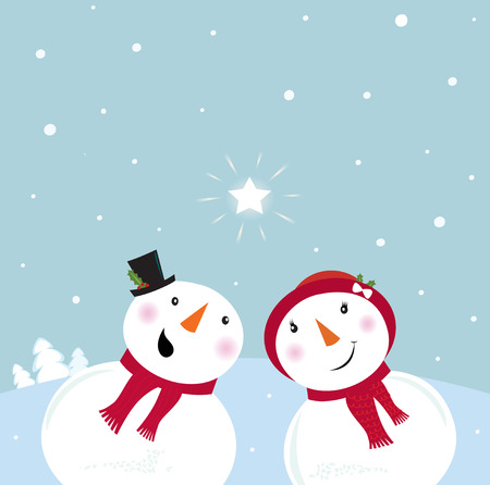 snow cap: Valentine´s Day: Snowman & Snow - woman. Snowy couple in love. VECTOR