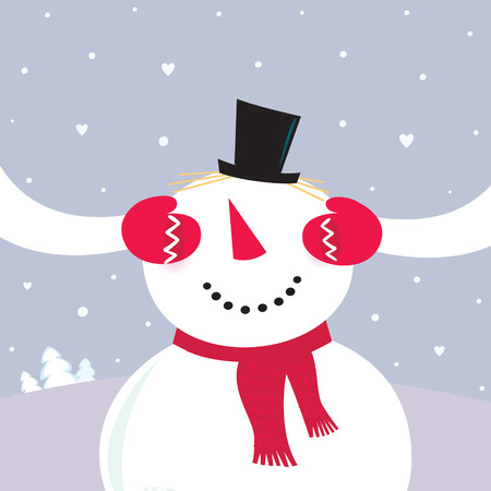Valentine´s Day Surprise! Snowy couple in love. VECTOR Vector