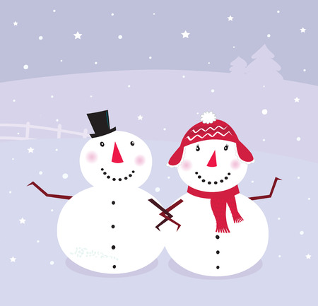 Winter day: Snowman & Snow - woman, cute snowy couple. VECTOR Vector