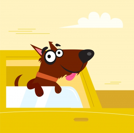 small car: Happy brown dog travel in the car. VECTOR ILLUSTRATION.