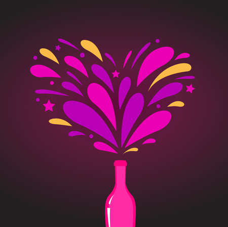 Valentines day celebration: Romance red wine with splash Vector