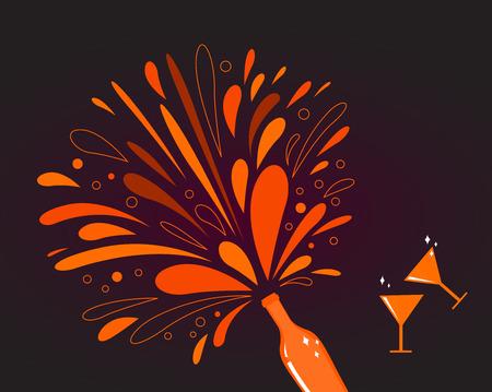 Valentines day celebration: Romance champagne with heart splash 일러스트