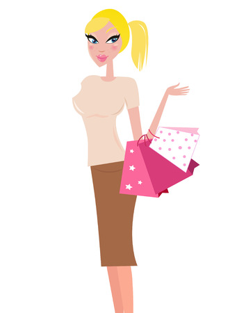 Shopping woman carrying shopping bags - isolated on white  Vector