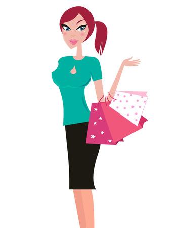 clothing shop: Chica de compras feliz con rosas bolsas de compra, aislados en blanco. Ilustraci�n vectorial.