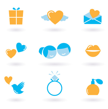 smile icon: Valentines day and Love icon collection - orange and blue  Illustration