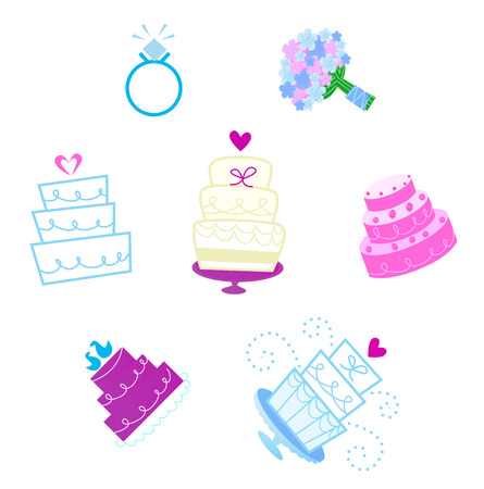 Wedding and Valentines day desserts and accesories icons  Vector