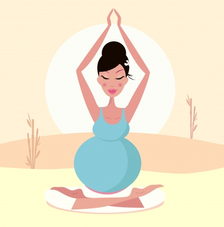 Beautiful pregnant mom practicing yoga pose. Illustration. Vector