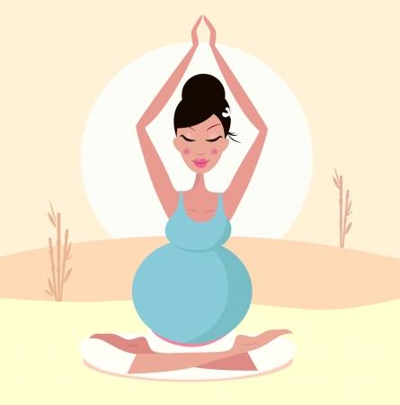 position d amour: Belle Maman enceintes pratiquant yoga posent. Illustration.