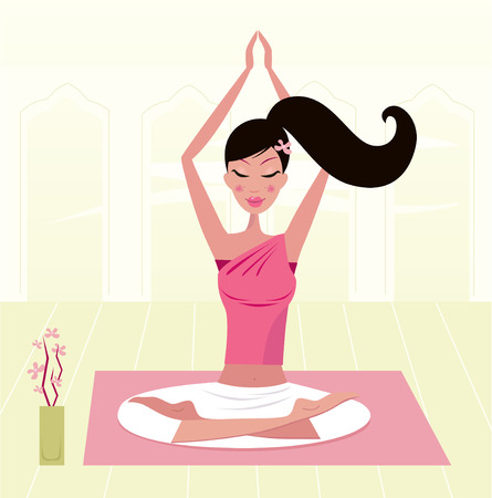 asana: Meditating woman practicing yoga asana in exotic interior. Illustration.