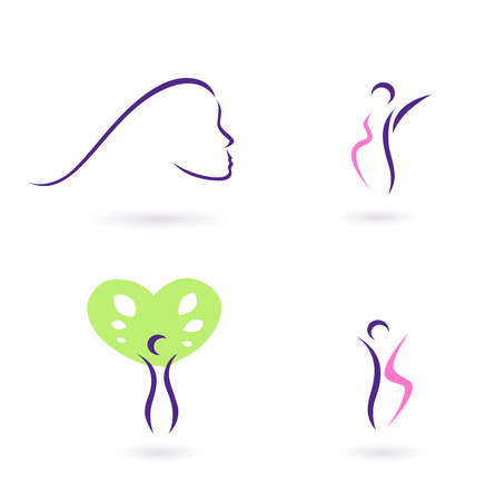 Women and femininity icons  collection - pink and purple  Stock Vector - 8713101