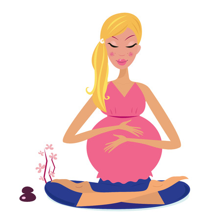 Woman holding belly and meditating in yoga lotus position.  Illustration.   Illustration