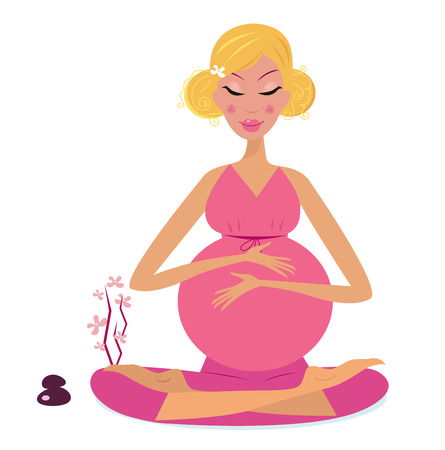 'peace of mind': Pregnant woman doing yoga - isolated on white background.