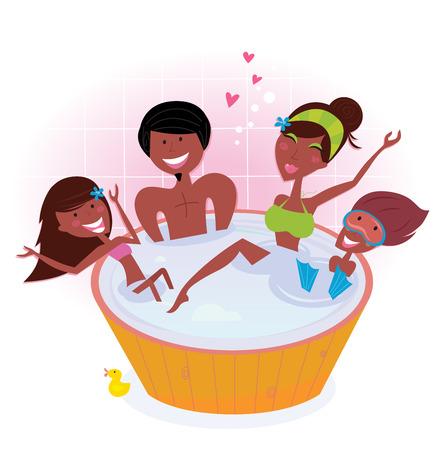 young girl bath: Dark skin family with two children in bath tub Illustration