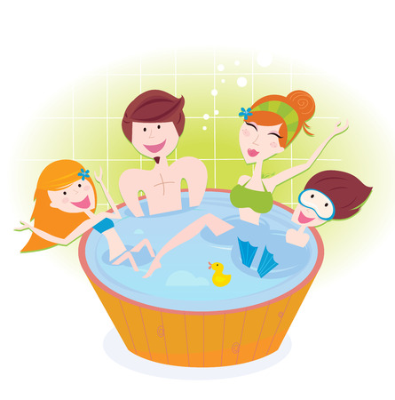 Happy family with two children in whirlpool bath  Vector