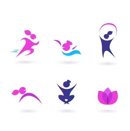 Women, sport and wellness icons - pink and blue Vector