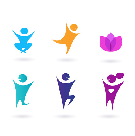 meditation isolated white: Collection of human icons - yoga and sport Illustration