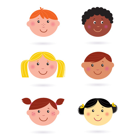 ponytails: Cute multicultural children heads icons Illustration