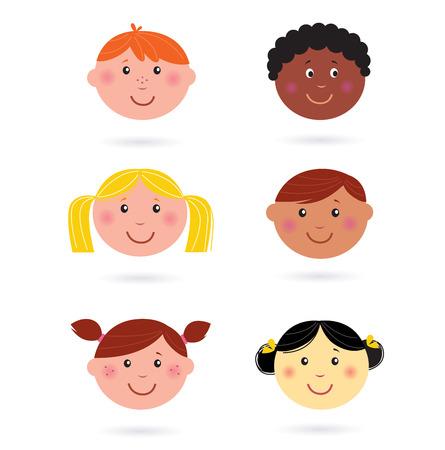tolerance: Iconos de Jefes de los ni�os multicultural lindo Vectores