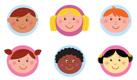 cartoon face: Cute diversity kids icons or buttons - pink and blue Illustration