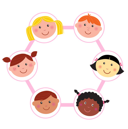 Multicultural kids head circle  Vector