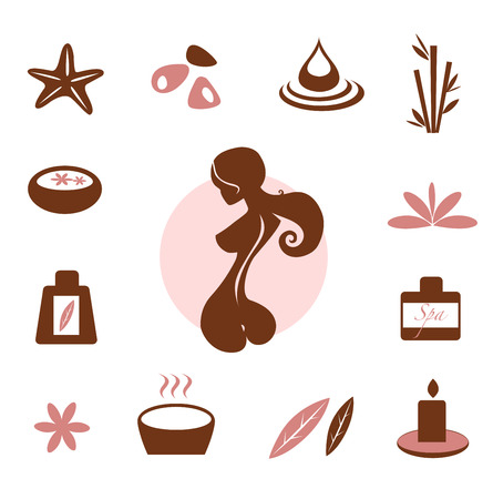 massage stones: Spa and wellness icon collection - brown Illustration