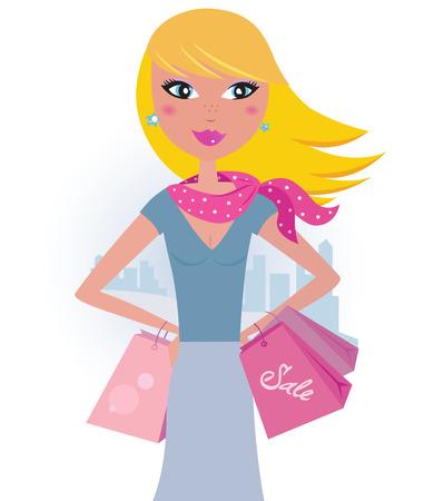 Shopping dans la ville : shopper Blond girl avec des sacs de roses Vecteurs